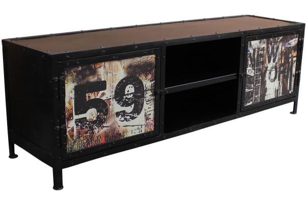 TV-Lowboard Vintage Factory schwarz bunt 150