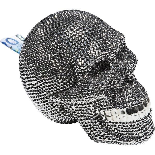Spardose Skull Crystal Silver