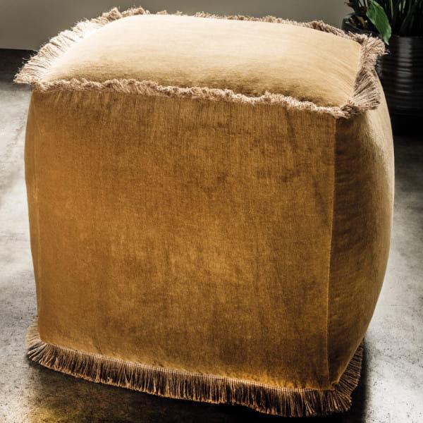 Sitzwürfel Muskat Samt gelb 45x45