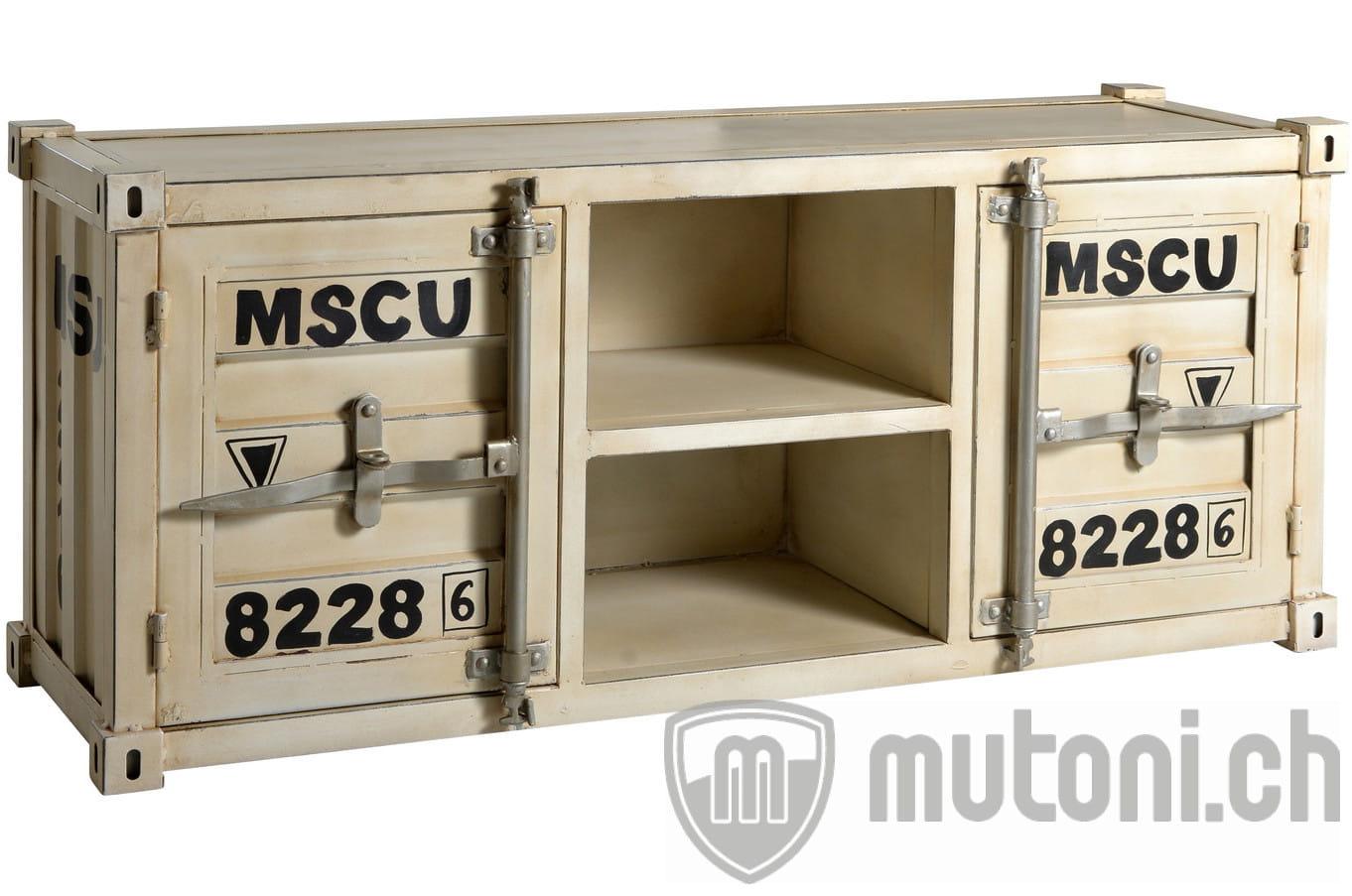 Tv Lowboard Vintage Container Creme Blanc 130 Buffets Bas Tv Meubles Tv Multimedia Salon Sejour Meubles Mutoni Mobel