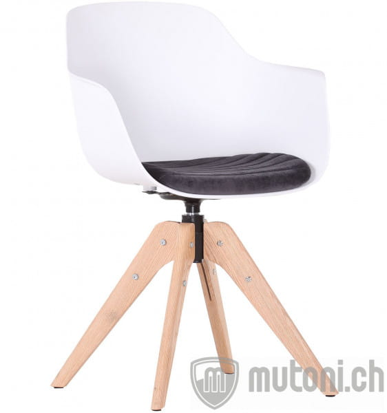 Drehsessel Deluxe Stockholm Weiss mit Sitzkissen