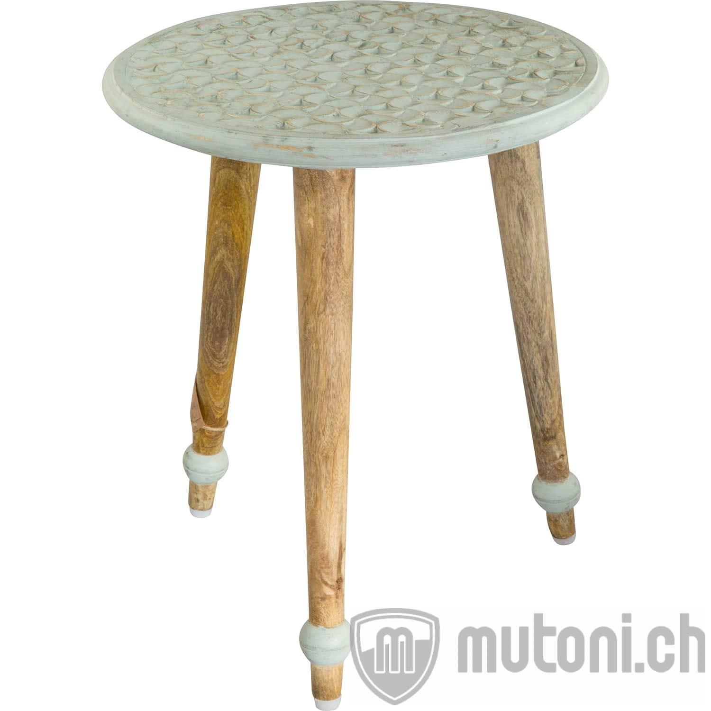 Beistelltisch Mangoholz Tischplatte mint rund ...
